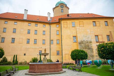 Podebrady, Czech Republic - 7.06.2020: View of Podebrady Castle from the courtyard side in Czech republic