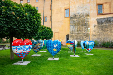 Podebrady, Czech Republic - 7.06.2020: The inner courtyard of Podebrady Castle. Exhibition of Hearts with Images of EU Countries, Podebrady, Czech republic