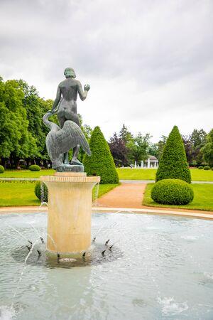 Leda with swan and park promenade, spa town Podebrady in Central Bohemia, Czech republic Archivio Fotografico