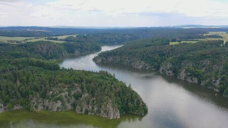 Aerial view of confluence of two rivers Vltava and Otava   in Czech republic