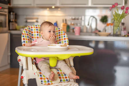 One year old girl having balanced meal in baby eating chair, healthy balanced nutrition for child