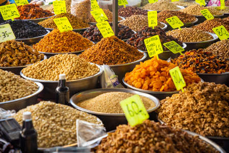 Assorted nuts and dried fruits in turkish market in Antalya, Turkey Stock Photo