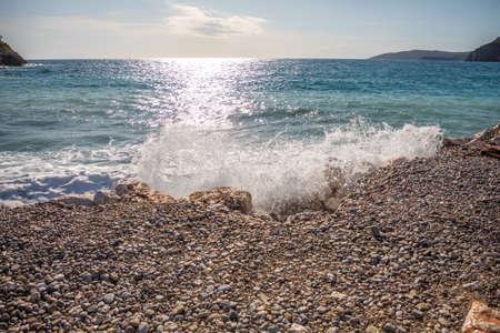 The beach on the island of St. Nicholas in Budva, Montenegro. Paradise beach on an island in the sea