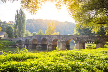 Old stone bridge on the river Dobra in Karlovac county, Croatia