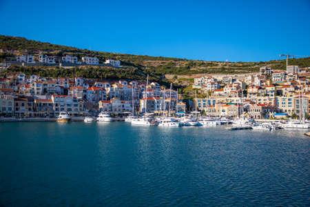 Lustica bay, Montenegro - October 1, 2021: Architecture and luxury yachts in Lustica Bay, Montenegro