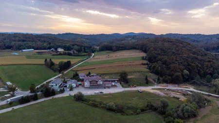 Aerial view of sunset landscape near old medieval Frankopan fortress Novigrad and countryside landscape in Croatia