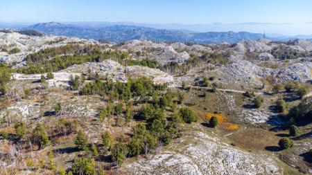 Peak of mountains. National park Lovcen. Nature of Montenegro