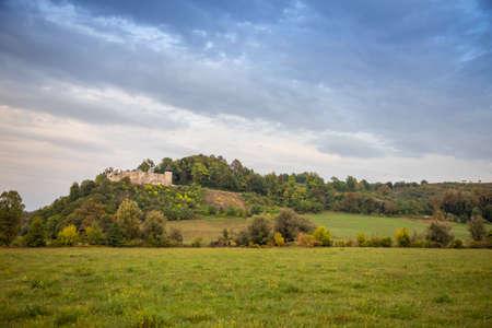 Ruins of old medieval Frankopan fortress Novigrad and countryside landscape in Croatia Reklamní fotografie