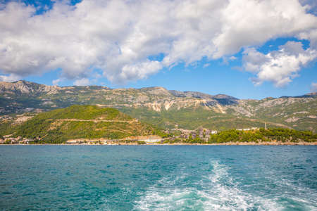 Mountain view near Budva Riviera, view from St. Nicholas Island in Montenegro. Reklamní fotografie