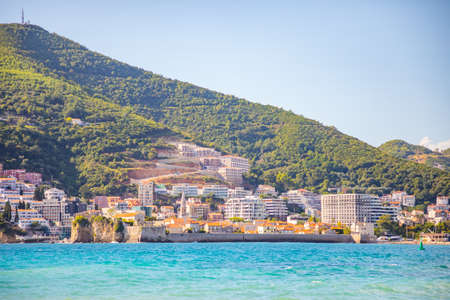 View from water of the Budva city in Montenegro, view from island of St. Nicholas Reklamní fotografie
