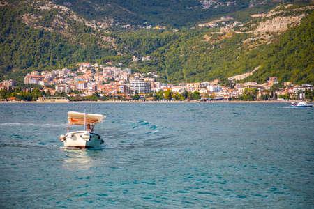 Budva, Montenegro - 20.09.2021: View from water of the Budva city in Montenegro, view from island of St. Nicholas