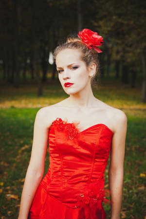 model in red dress photo