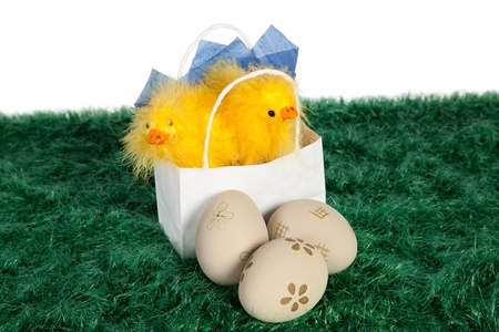 White paper bag with Easter baby chickens and decorated Easter eggs on green grass Stock Photo - 18175978