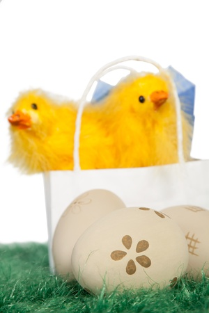 Paper bag with two yellow baby chicks and decorated Easter eggs on green grass Stock Photo - 18175974