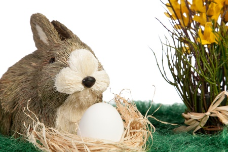 Easter them with ornament rabbit with white egg photo