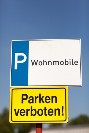symbolization: Sign showing parking for trailers and mobile homes Stock Photo