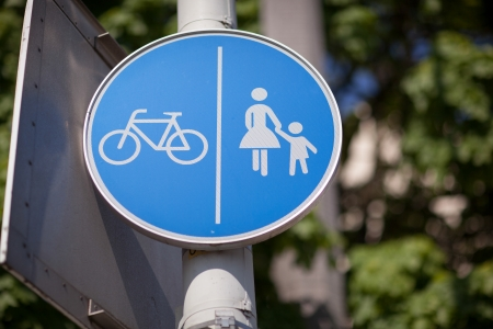symbolization: Road sign for bicycles and pedestrians showing that a particular track or lane is restricted from use by vehicles Stock Photo