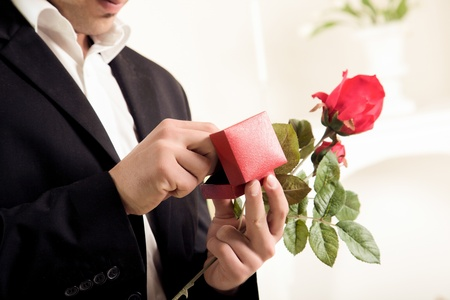 Closeup torso image of the hands of a young man about to propose holding a single long stemmed red rose and checking to make sure the ring is inside its box