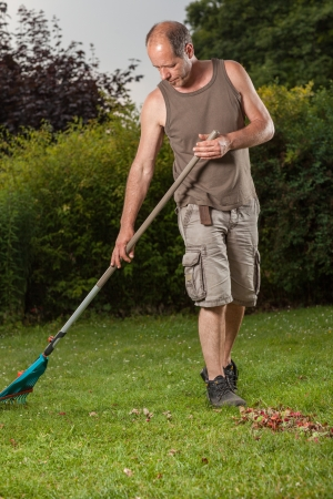 A array of grass is cleaned by the gardener  photo