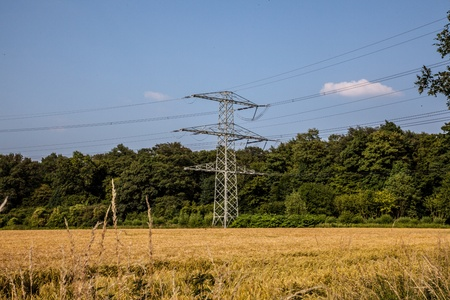 electricity providers: A Energy Tower at a warm sunny day  Stock Photo