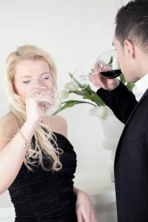A young attractive couple at winetesting  photo