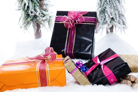 big tree: A couple of Christmas Presents in a snowy winter landscape  Stock Photo