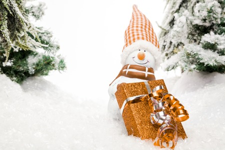 somebody: A snowman is waiting for somebody to pick up the christmas Present in a deep snow covered Scenery