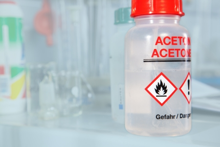 An Aceton bottle in a laboratory  Stock Photo