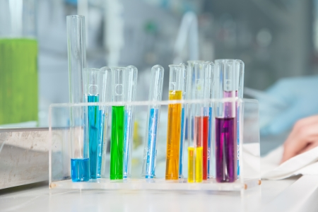 injurious: Some colored test-tubes in a Laboratory