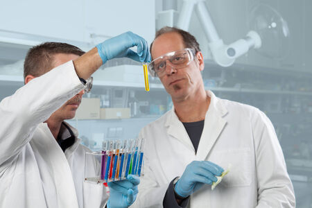 appraising: Two Chemist colleagues are appraising a yellow liquid  Stock Photo