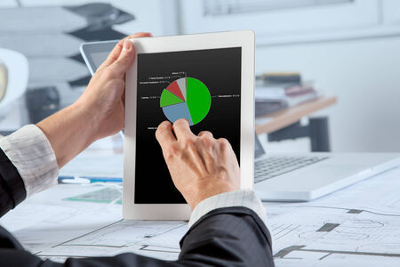 category: The Chief Financial Officer is analyzing the Revenue per Category on a mobile device  Stock Photo