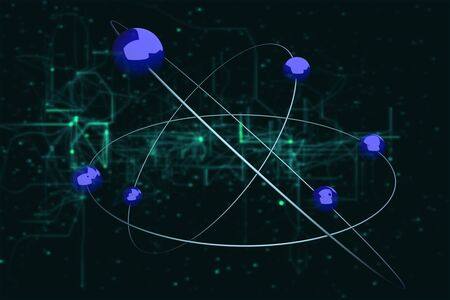 futurism: A hightec atom model on a futurism background