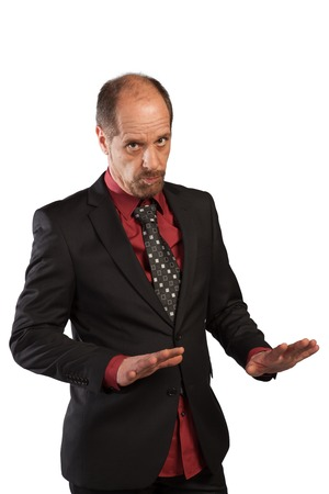 appease: A Businessman shows the keep cool gesture on a white background