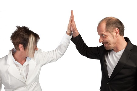appreciating: A Team of Businesspeople are appreciating each other on a white background