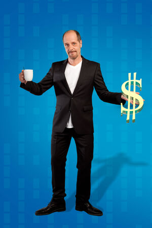 profit loss: A Businessman is going to measure profit or loss  Stock Photo