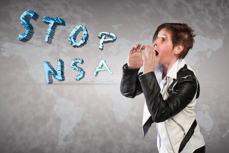 A woman is shouting stop NSA  photo