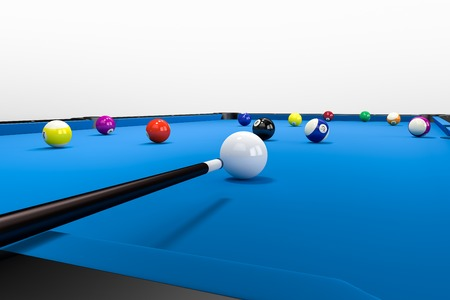 billard: A non visible Player is aiming over his pool queue to put a ball into the billard pocket.