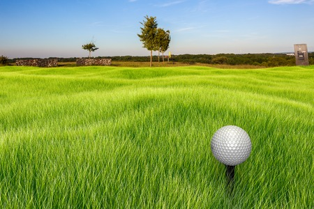 A golf ball on a tee infront of a landscape at a sunny day. The foreground turf and golf ball is rendered in 3D. photo