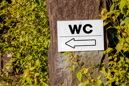 A WC sign with a direction indicator in a forest. photo