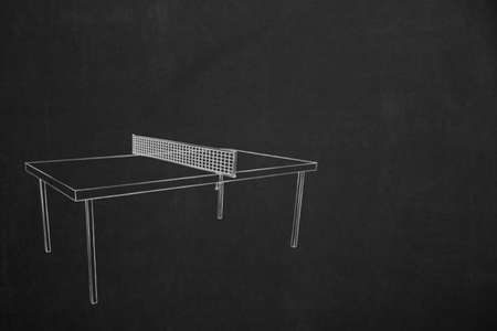 drawed: A table tennis game drawed with chalk on a dark chalkboard.