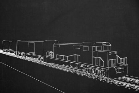 electric train: A painting of an electric train with white chalk on a dark chalkboard.