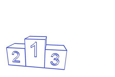 drawed: A winner podium with three places drawed with blue chalk, isolated on white. Stock Photo