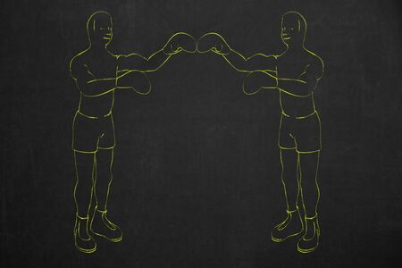 drawed: Two boxers drawed with yellow chalk on a dark chalkboard with copyspace. Stock Photo
