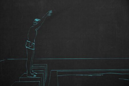 drawed: A swimmer starts to jump into the water to start the swimming competition, drawed with chalk on a dark chalkboard.