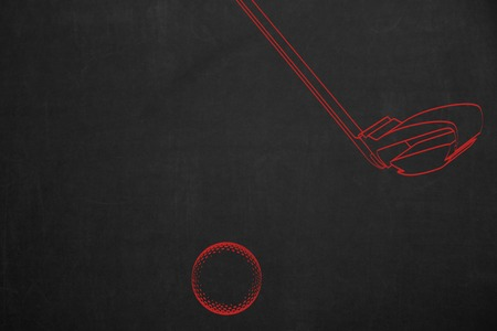 drawed: An illustration from a golf scene, drawed in red on a dark chalkboard. Stock Photo