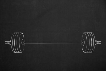 weightlifter: A dumbbell chalk sketch on a dark chalkboard. Stock Photo