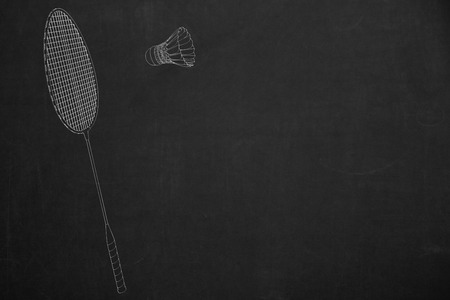 drawed: A side view from a badminton scene drawed with white chalk on a dark chalkboard.