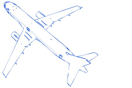 calligraphy pen: An aircraft painted on white with a bluish calligraphy pen.