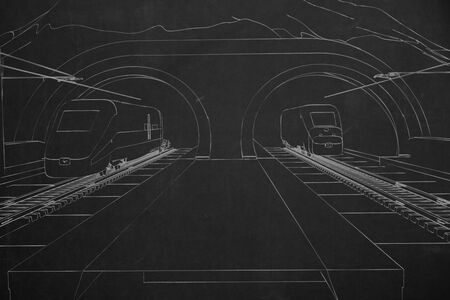 perpective: A train station with two trains coming out of tunnel, painted with white chalk on a dark chalkboard.