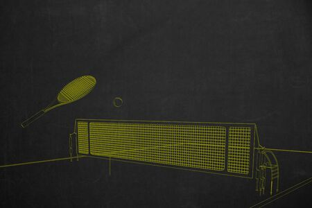 drawed: A side view from a tennis scenery drawed with yellow chalk painted on a dark chalkboard